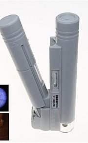 transportabel LED belyst 150x mikroskop med skala mærkning (2 x aa)