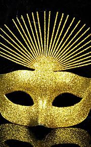מפואר נוצץ מסכה חצי פנים חג PVC זהב