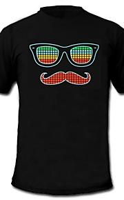 herre lyser førte t-shirt briller skæg mønster lyd og musik aktiveret equalizer til fest bar raver