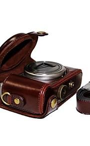 dengpin® læder beskyttende kamerataske taske cover med skulderrem til Sony DSC-hx50v hx60 hx50 HX30 hx10 LCJ-hn