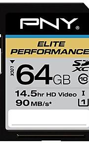 PNY 64GB klasse 10 SDXC SDHC-hukommelseskort elite ydeevne UHS-1 90 MB / sek