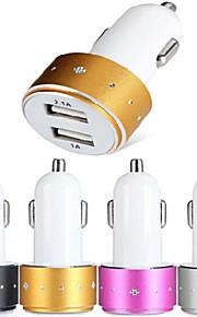 es-06 caricabatteria per auto con hub USB a 2 porte per il iphone 6 iphone 6 plus e altri cellulari (5V 1A / 2.1A)