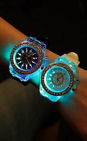 Mulheres Relógio de Moda Quartzo LED Silicone Banda Brilhante Preta Branco Branco Preto