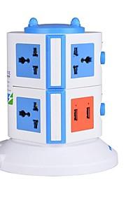 overbelastingsbeschermer 5v / 2.1a 2 verdieping met 7 universele stekkers en 2 usb ons adapter stekkerdozen