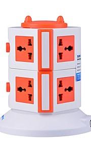 overbelastingsbeschermer 5v / 2.1a 2 verdieping met 7 universele stekkers en 2 usb uk adapter stekkerdozen