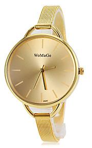 mostrador de ouro rodada relógio banda liga de quartzo moda feminina