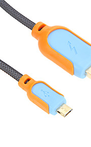 150CM Micro USB Charge Sync Cable for SAM/HTC/NOK/MOT/B.B(Blue-Orange)