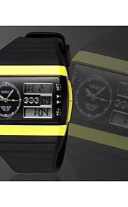 Masculino Assista Quartzo Japonês Relógio Esportivo LED / Calendário / Cronógrafo / Impermeável / Dois Fusos Horários / alarme Silicone