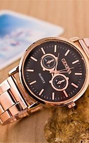 Mulheres Relógio Elegante Quartz Lega Banda Relógio de Pulso Ouro Rose
