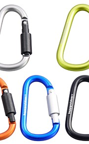 8mm D-shaped Carabiner With Screw Lock Quick Release Hook (Random Color)