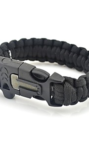 Outdoor Camping Survival Gear Paracord Brecelet Magnesium Stone Flint Fire Starter Whistle Buckles