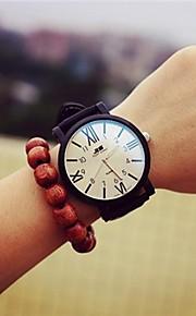 Mulheres Relógio de Moda Quartz Couro Banda Relógio de Pulso Preta