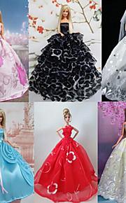 6PCS Princess Dresses Barbie Doll Beautiful Fairy Style Princess Party Dress Princess Dresses For Barbie Doll Solid / Lace Dresses