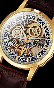 esqueleto caso o ouro dos homens cjaba® relógio auto-mecânica clássica gravura oco