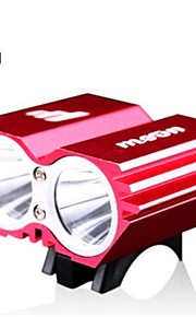 Moon 2000LM Aluminum Alloy Body CREE XM-L U2 LED 4 Flash Mode Red Waterproof Cycling Front Lights with Batteries