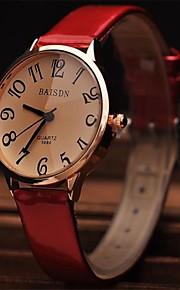 Mulheres Relógio Elegante Relógio de Moda Relógio de Pulso Quartzo Couro Banda Vermelho Branco Preto Marron Vermelho