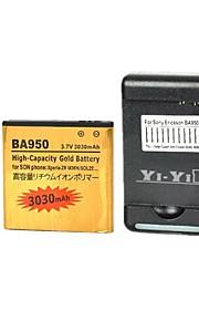 yi-yi ™ batería 3030mah reemplazo con usb nos clavija del cargador de batería para sony xperia zr / m36h / c5502 / ba950