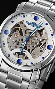 WINNER Masculino Relógio Esqueleto relógio mecânico Automático - da corda automáticamente Gravação Oca Aço Inoxidável Banda PrataBranco