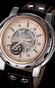 automático relógio pulseira de couro elegante mostrador mecânico dos homens forsining® (cores sortidas)