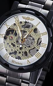 manual do relógio rosto oco ouro esqueleto pulseira de aço preto mecânico dos homens (cores sortidas)
