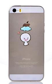 Bakdeksel - iPhone 5/iPhone 5S -Tegneserie/Spesielt design/Gjennomsiktig/Original/Animert/Ultratynn/Søt/Ansikt/Regndråper/Vakker jente/Cool Word /