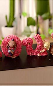 4 pcs lindo amor coelhos pintura resina artigos de decoração