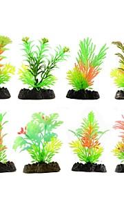 8pcs / lot bunten Aquariendekorationen Kunststoff künstliche Pflanzen Aquarium Gras Blumen-Ornament Dekor Landschaft