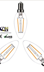 3 stk. ONDENN E14 2 W 2 COB 200 LM Varm hvit A Dimbar LED-glødelampe AC 220-240 V