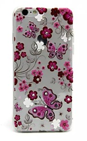 fleurs rouges et motifs papillons 0,2 TPU mince coquille protectrice pendant 6s iphone / 6