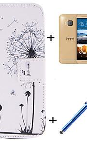 HTC 하나 M9에 대한 영화와 용량 펜 애인과 민들레 패턴 PU 가죽 전신 경우