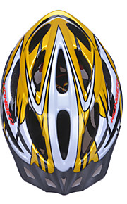 High-Breathability PVC+EPS Black Bicycle Helmet With Detachable Sunvisor (20Vents) - Golden + Silver