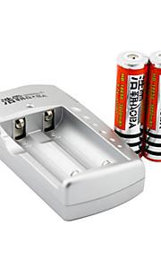 haoba batterijlader voor 18650 oplaadbare Li-ion batterij (inbegrepen 2x3000mah 3.7v batterijen)