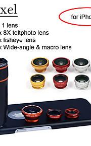 """apexel 4 i 1 skit 8x svart teleskop lins + fisheye-objektiv + vidvinkel + makrokameralinsen med fallet för 4,7 """"iPhone 6"""