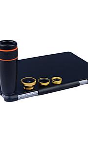 apexel 4 i 1 skit 8x svart teleskop lins + fisheye-objektiv + vidvinkel + makrokameralinsen med fallet för iPad Mini 2/3