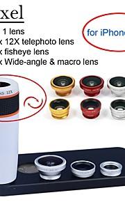 apexel 4 i 1 objektiv kit 12x vit teleobjektiv + fisheye-objektiv + vidvinkel + makrokameralinsen med fallet för iphone 5 5s