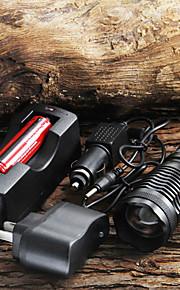 Lanterna de LED 1800 Lumens com Foco Ajustável CREE XM-L T6 com Zoom acompanha Bateria de 18650 e Carregador AC para carro.