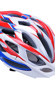 Unisex Fashion and High-Breathability PC + EPP Bicycle Helmet With Detachable Sunvisor(24 Vents) - Red + Blue + Silver