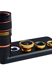 apexel 4 i 1 skit 8x teleobjektiv + vidvinkel + makroobjektiv + fisheye-objektiv med fallet för iphone 5c (diverse färg)