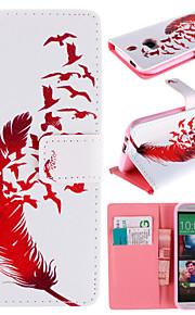 HTC 한 M8 용 카드 가방 전신 케이스와 붉은 깃털 패턴
