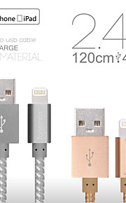 fonemax® mfi sertifisert 8 pin usb sync data / lade veve stoff kabel for iphone 5 / 5s / 6/6 pluss / iPad / iPod (120cm)
