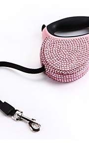 Blue Pink Rhinestone Bling Crystal Dog Puppy Pet Retractable Lead Leash 3M 118ft