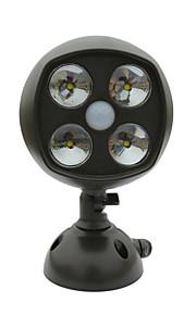 600-lumen 4-ledede værbestandig trådløs batteridrevet ledet spotlight vegglampe med pir bevegelsessensor&lyssensor