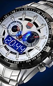 Masculino Assista Quartzo Japonês Relógio Esportivo LED / Calendário / Impermeável / Dois Fusos Horários / alarme Aço Inoxidável Banda
