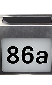 solar husnummer skilt oppladbare rustfritt stål ledet doorplate lys