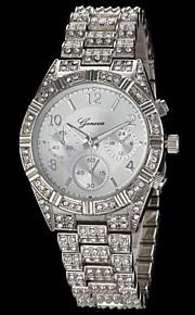 Women's Fashion Geneva Quartz Watch Sparkle Crystal Steel Strap
