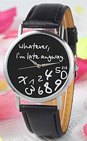 nova moda feminina relógios de pulso de couro carta genebra relógio que eu já estou atrasado irregular relógio figura quartzo