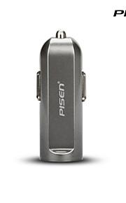 Pisen slimme 2a draagbare usb auto-oplader sigaret oplader voor iphone, ipad, sumsung, smartphones en andere apparaten