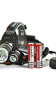 6000Lm 3X XM-L U2+2R5 LED Head Headlamp Headlight 2X18650 battery + AC Charger