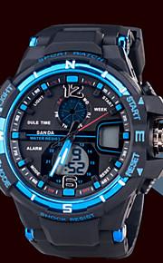 dos homens esportes moda relógios cronógrafo impermeável relógio eletrônico multi-funcional luminosa
