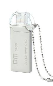 dm pd009 32gb usb unidade otg impermeável 3.0 + micro usb flash para telefones inteligentes&computador - prata